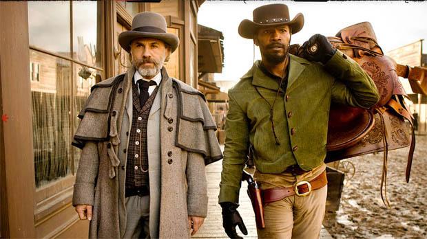 Christoph Waltz, and Jamie Foxx in Django Unchained.