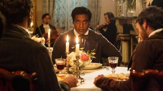 Chiwetel Ejiofor as Solomon Northup, shortly before he is drugged and kidnapped.