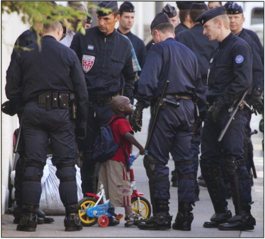 Little Black Kid and Cops