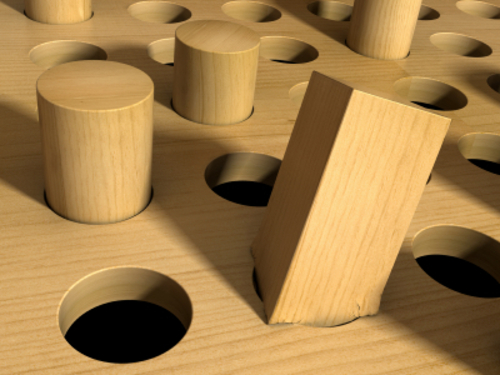 A square peg forced into a round hole. 3D render with HDRI lighting and raytraced textures.