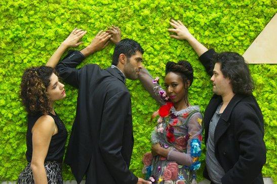 L-R: Thea Elvsted (Carla Pauli), Eilert Løvborg (Kunal Prasad), Hedda (Britney Frazier), Jørgen Tesman (Francisco Arcila) Photo by Liz Olson