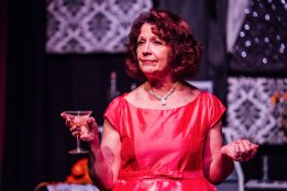 Marie O'Donnell as Dorothy Kilgallen in Kilgallen/Jones. Photo by James Jordan