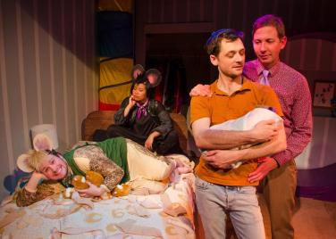 Jason (Neil Higgins), Tyson (Nikki Meñez), Dean (Sam Bertken), Mike (Ryan Hayes). Photo by Clive Walker.