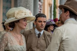 Ana (Charlotte Le Bon), Mikael (Oscar Isaac), and Chris (Christian Bale). Photo by José Haro for Open Road Films.