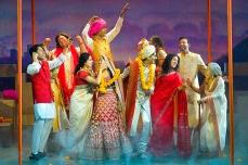 (back row, l to r) Ali Momen (Congress), Sorab Wadia (CL Chawla), Monsoon Bissell (Shashi Chawla), Rohan Gupta (Varun Verma), Palomi Ghosh (Vijaya), and Andrew Prashad (Mohan Rai); (front row, l to r) Mahira Kakkar (Pimmi Verma), Kuhoo Verma (Aditi Verma), Michael Maliakel (Hemant Rai), Krystal Kiran (Saroj Rai), and Meetu Chilana (Grandmother) Photo by Kevin Berne for Berkeley Rep.