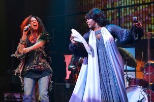 Janis Joplin (Kacee Clanton) and Aretha Franklin (Ashley Támar Davis). Photo by Kevin Berne.