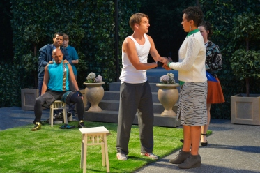 Charles (Jomar Tagatac, seated), Orlando (Patrick Russell), Rosalind (Jessika D. Williams). Photo by Kevin Berne for Cal Shakes.