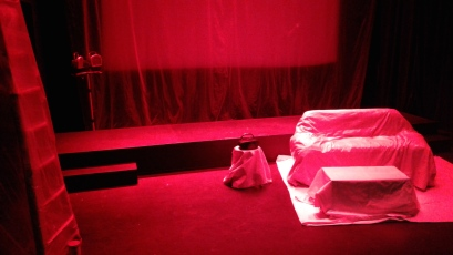 Trust me: the set gets A LOT redder before the play is over. Photo by Me.