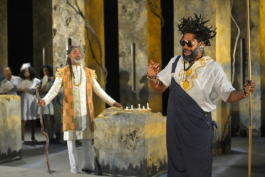 Great Grand Daddy Deus (Lamont Thompson) and Great Grand Paw Sidin (Aldo Billingslea). Photo by Kevin Berne.