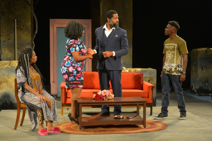 Aunt Tina (Margo Hall), Nella (Omozé Idehenre), Suitor (Aldo Billingslea), and Malachai (Michael Curry). Photo by Kevin Berne.