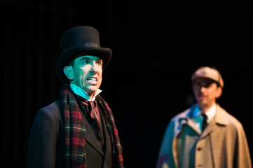 Victorian-era Merrick (Mick Mize) and Dr. Watson (Bradley Woolery). Photo by Jessica Palopoli.
