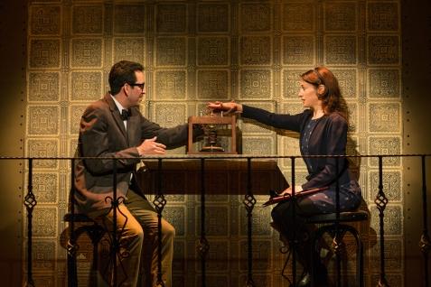 Thomas A. Watson (Bradley Woolery) and Interviewer Eliza (Sarah Mitchell). Photo by Jessica Palopoli.