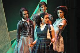 Ladybird (María Ascensión Leigh, center) and the Witches (L-R: Jessica Waldman, Mikka Bonel, Carla Pauli). Photo by Alandra Hileman.