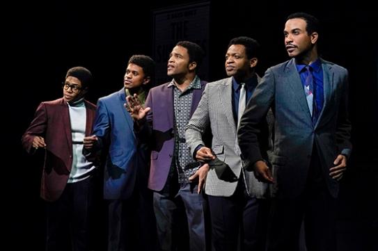 David Ruffin (Ephraim Sykes), Eddie Kendricks (Jeremy Pope), Paul Williams (James Harkness), Otis Williams (Derrick Baskin), and Melvin Franklin (Jared Joseph). Photo by Kevin Berne.