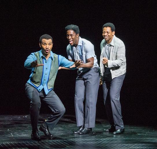 Melvin Franklin (Jared Joseph), Al Bryan (Jarvis B. Manning, Jr.), and Otis Williams (Derrick Baskin). Photo by Kevin Berne.