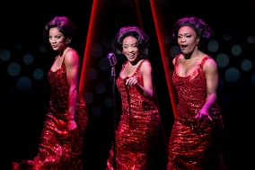 The Supremes: (Taylor Symone Jackson), Diana Ross (Candice Marie Woods), and (Nasia Thomas). Photo by Kevin Berne.