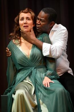 Gertrude (Domenique Lozano) and Hamlet (John Douglas Thompson). Photo by Kevin Berne.