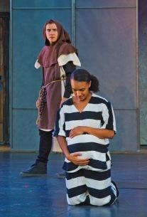 Duke as Friar (Rowan Vickers) and Juliet (Tristan Cunningham). Photo by rr jones