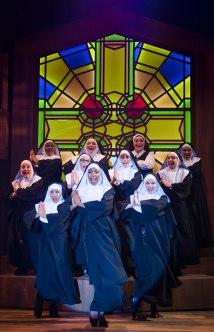 Deloris Van-Cartier (Elizabeth Jones, center) leads her heavenly choir. Photo by Ben Krantz.