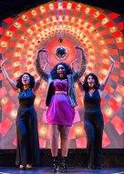 Deloris (Elizabeth Jones, center) lights up the stage with Michelle (Vida Mae Fernandez, left) and Tina (Giana Gambardella, right). Photo by Ben Krantz.