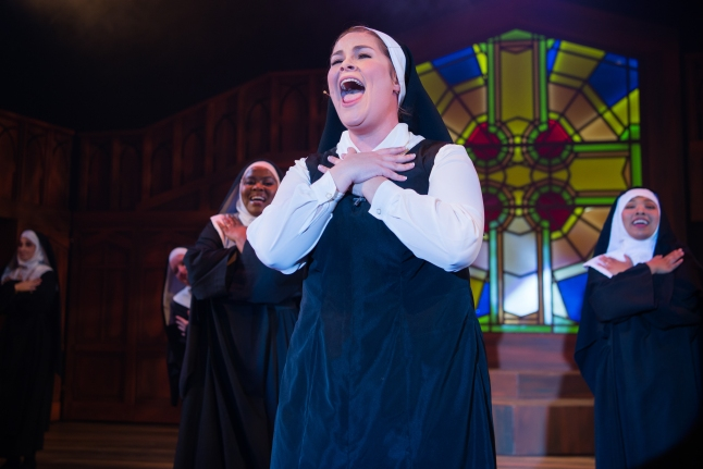 Sister Mary Robert (Elizabeth Curtis) using the voice God gave her. Photo by Ben Krantz.