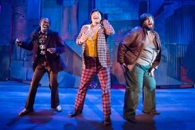 Even Curtis's goons get a tune (Marcel Saunders, Jesse Cortez, Chris Plank). Photo by Ben Krantz.