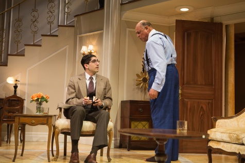 Reporter Paul Verrall (Jason Kapoor) introduces himself to the brash millionaire Harry Brock (Michael Torres). Photo by Jessica Palopoli.