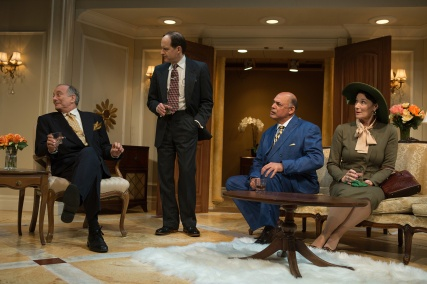 Senator Norval Hedges (Louis Parnell), Ed Devery (Anthony Fusco), Harry Brock (Michael Torres), and Mrs. Hedges (Terry Bamberger) discuss ways to enrich Harry's business interests in the wake of World War II. Photo by Jessica Palopoli.