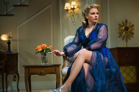 Billie Dawn (Millie Brooks*) contemplates her role in the corrupt world of Washington. Photo by Jessica Palopoli.