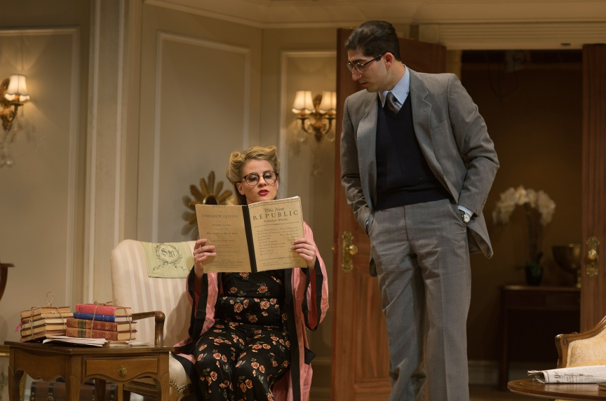 Billie Dawn (Millie Brooks) learns about politics from Paul Verrall (Jason Kapoor). Photo by Jessica Palopoli.