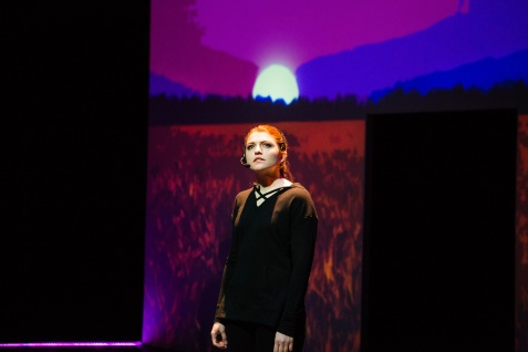 Katja (Emily Radosevich) takes a walk through her own in-development game. Photo by Jessica Palopoli for SF Playhouse.