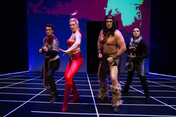 "The warriors of Spearslight Chronicles: Trent (Devin O'Brien), ""Morwyn"" (Annemaria Rajala), Feldrick (Tyler McKenna), and Katja (Emily Radosevich). Photo by Jessica Palopoli for SF Playhouse."