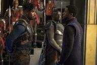 Killmonger (Michael B. Jordan), W'Kabi (Daniel Kaluuya), and T'Challa (Chadwick Boseman). (c) Marvel Studios