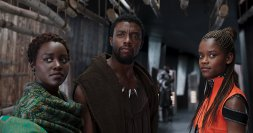 Nakia (Lupita Nyong'o), T'Challa (Chadwick Boseman), and Shuri (Letitia Wright). (c) Marvel Studios