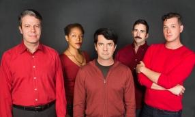 Christopher (Matt Weimer), Susan (Desiree Rogers), Kevin (Scott Cox), Marcus (William Giammona), Byron (J. Conrad Frank). Photo by Lois Tema.