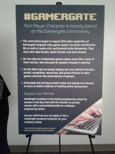 Lobby sign about the #GamerGate controversy. Photo by Me.