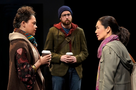 Genevieve (Kerry Warren) and David (Jeremy Kahn) implore Gina (Jackie Chung) to see a new student. Photo by Kevin Berne for Berkeley Rep.