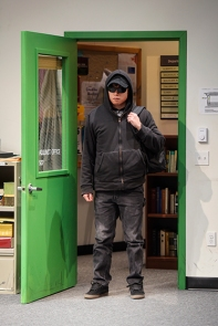 Dennis (Daniel Chung) arrives for the meeting. Photo by Kevin Berne for Berkeley Rep.