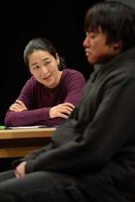 Gina (Jackie Chung) begins to make progress with Dennis (Daniel Chung). Photo by Kevin Berne for Berkeley Rep.