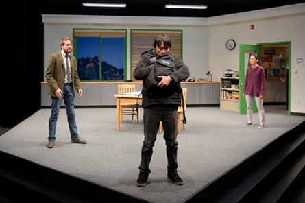 David (Jeremy Kahn) provokes Dennis (Daniel Chung) in front of Gina (Jackie Chung). Photo by Kevin Berne for Berkeley Rep.