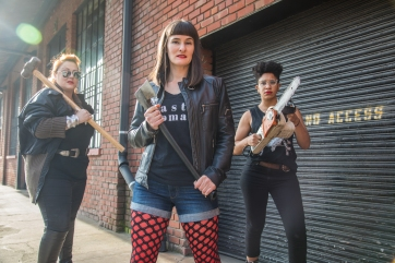Cat Luedtke, Elissa Beth Stebbins, and Leigh Rondon-Davis are ready for action. Photo by Cheshire Isaacs.