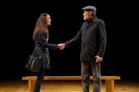 The blunt Georgie Burns (Sarah Grace Wilson) meets the mild-mannered Alex Priest (James Carpenter). Photo by Kevin Berne.
