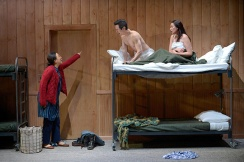 Tong's mother (Cindy Im) catches Quang (James Seol) and Tong (Jenelle Chu) in the act. Photo by Kevin Berne.