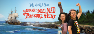 Judy Moody & Stink (Alicia Piemme Nelson & Jave Hernandez) set off for adventure! Image courtesy of Bay Area Children's Theatre