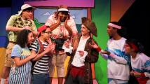 L-R: Judy & Stink (Alicia Piemme Nelson & Jave Hernandez), their Mom & Dad (Nickolas Rice & Rolanda D. Bell), Scurvy Sam (Justin DuPuis), Tall Boy (Maurice Andre San-Chez), and Smart Girl (Kitty Torres). Photo courtesy of Bay Area Children's Theatre