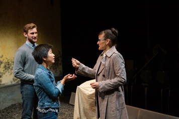 Gerta (Elissa Beth Stebbins, Right) reluctantly hands over the keys to the Braunau home to obnoxious Americans Justin (Josh Schell) and Sarah (Sango Tajima). Photo by Jessica Palopoli.