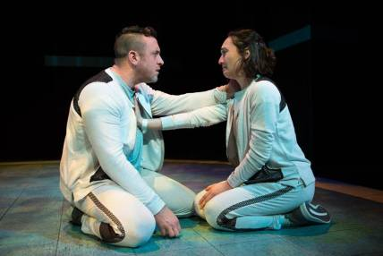 The experiments begins to take a toll on Tristan (Joe Estlack) and Connie (Ayelet Firstenberg). Photo by Jessica Palopoli.