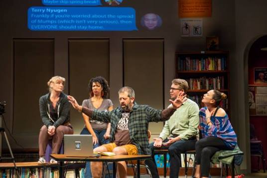 A FB Live debate goes very wrong very quickly. L-R: Suzanne (Lisa Ann Porter), Carina (Elizabeth Carter), Don (Rolf Saxon), Eli (Teddy Spencer), and Meiko (Charisse Loriaux). Photo by David Allen.