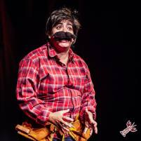 """This helpful lumberjack (Melanie Marshall) educates us on the concept of """"scissoring"""". Photo by James Jordan Pictures for Killing My Lobster."""