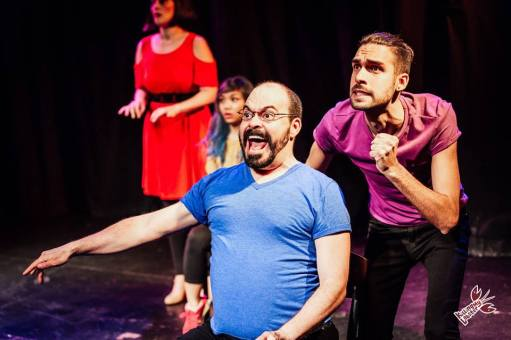 Inside the mind of a Grindr-user. (Jan Gilbert, Amanda Ramos, Nick Hongola, Shane Swenson) Photo by James Jordan Pictures for Killing My Lobster.